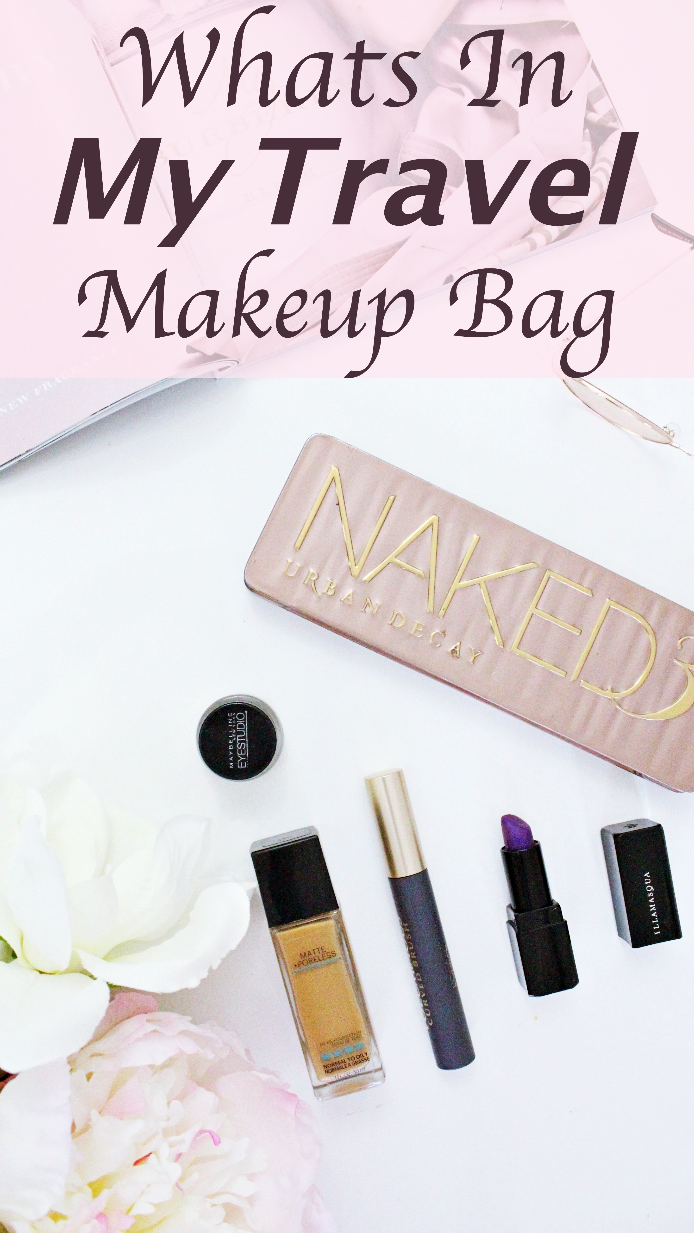 what's in my makeup travel bag